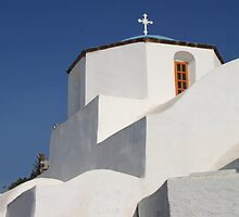 Church Detail in Blue & White by Carole-Anne