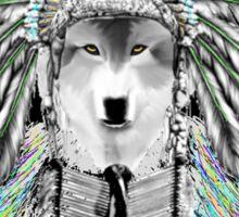Indian chief wolf  Sticker