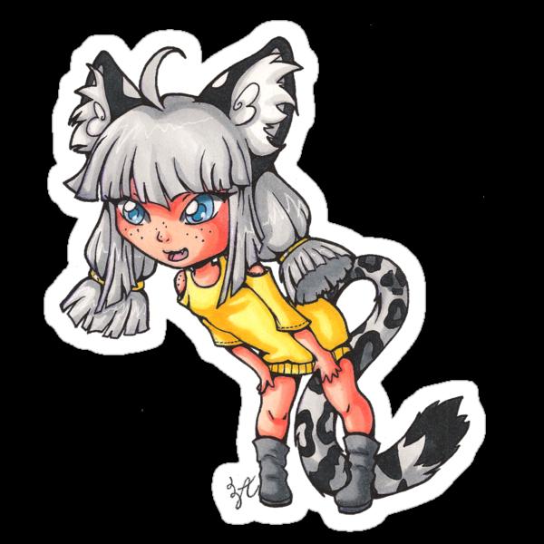 Chibi Snow Leopard Girl by AngelaZA