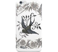 Vintage Bird in Wreath  iPhone Case/Skin