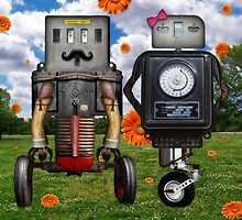 Mr. & Mrs. Robot The Day It Rained Daisies At The Park by Elizabeth Burton