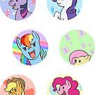 Sticker Badges - My Little Pony Mane Six by TipsyKipsy