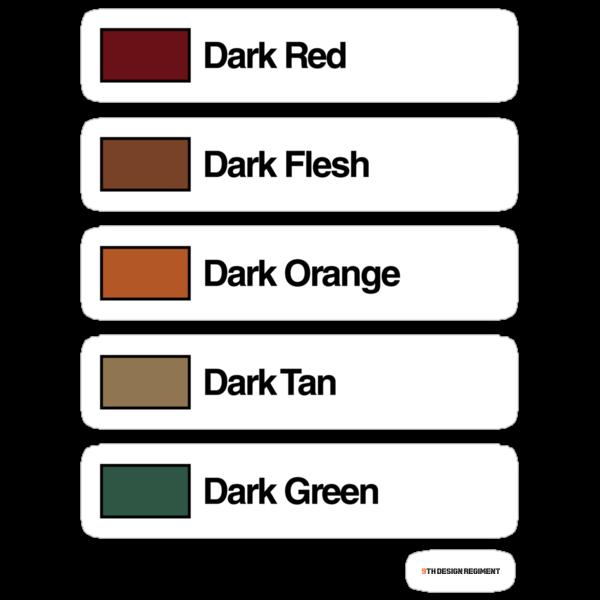 Brick Sorting Labels: Dark Red,  Dark Flesh,  Dark Orange,  Dark Tan,  Dark Green by 9thDesignRgmt