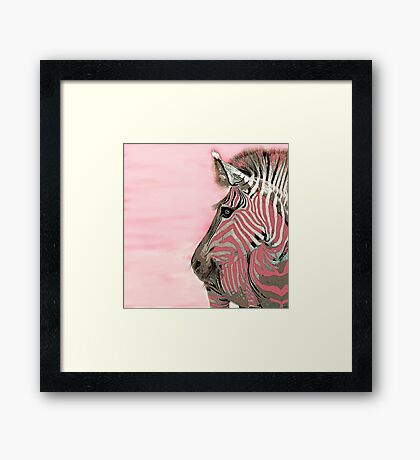 Zebra Pink and White Abstract Framed Print