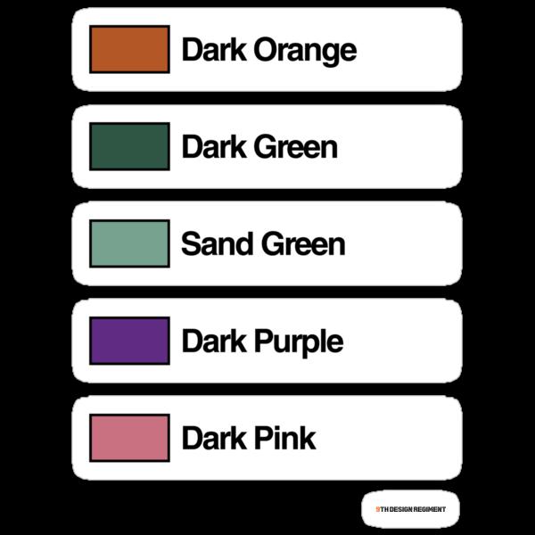 Brick Sorting Labels: Dark Orange, Dark Green, Sand Green, Dark Purple, Dark Pink by 9thDesignRgmt