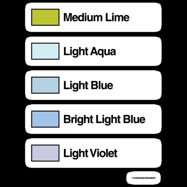 Brick Sorting Labels: Medium Lime, Light Aqua, Light Blue, Bright LightBlue, Light Violet by 9thDesignRgmt