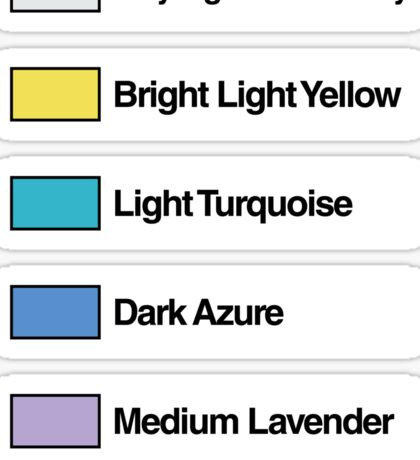 Brick Sorting Labels: Very Light Bluish Gray, Bright Light Yellow, Light Turquoise, Dark Azure, Medium Lavender Sticker