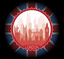 London City Skyline - black sticker by SwanStarDesigns