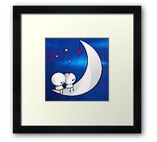 Sitting on the moon Framed Print