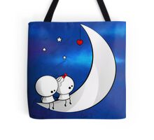 Sitting on the moon Tote Bag