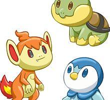 Pokemon Starters - Gen 4 by TipsyKipsy