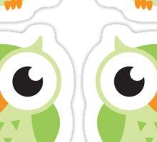 Cute green cartoon owls, sticker collection Sticker