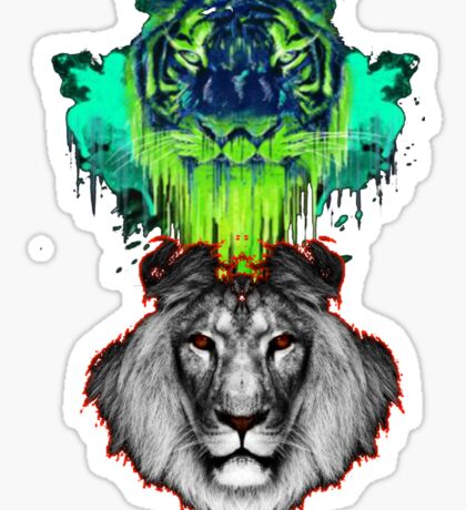 Tigers And Lions In Colour Sticker