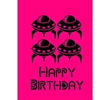 Space Invaders Happy Birthday Greeting Card by Chillee Wilson Photographic Print