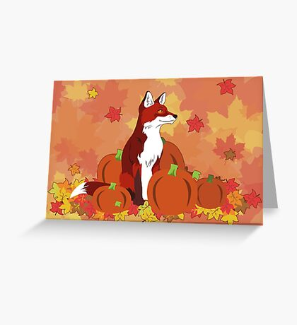 A Fox in the Pumpkin Patch Greeting Card