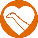 Dinosaur heart: Diplodocus sticker by David Orr