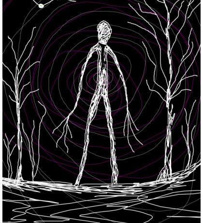 creepy slender man in woods Sticker