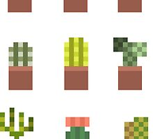 Mini Cacti Pots - Set of 9 by pixelatedcowboy