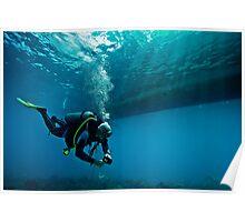 scuba diver under a boat Poster