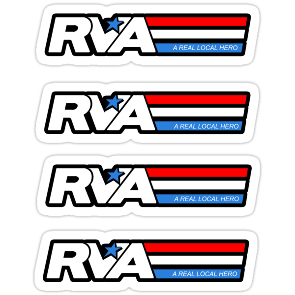 RVA - A Real Local Hero! STICKERS USA by Lee Lacy