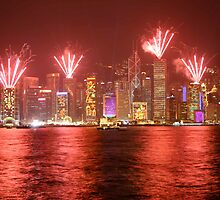 fireworks over hong kong by paulcowell