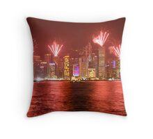 fireworks over hong kong Throw Pillow