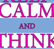 KEEP CALM AND THINK OF THE BEACH - Palm Tree - Baby Blue and Pink Sticker