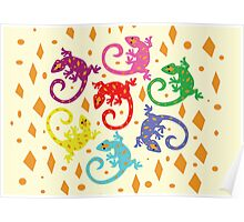 Colorful Lizards Poster
