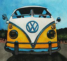 Wee Yellow Camper by samcannonart