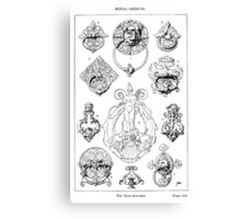 Striking vintage illustration of varied door knockers Canvas Print