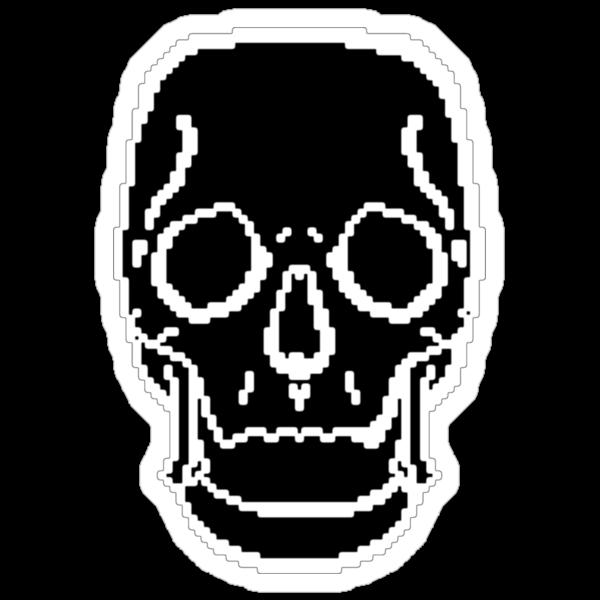 Pixel Skull Black by George Barwick