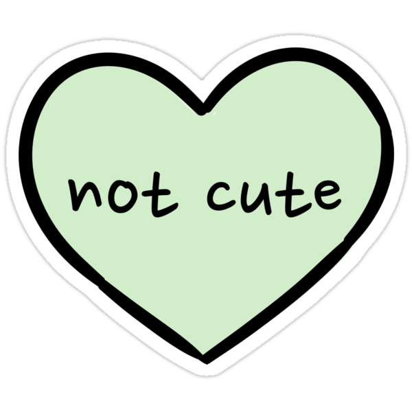"""Sassy Heart–not cute–mint green"" Stickers by Sam Asselman ..."