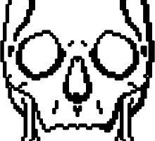 Pixel Skull White by George Barwick