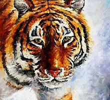 TIGER ON THE SNOW  - OIL PAINTING BY LEONID AFREMOV by Leonid  Afremov