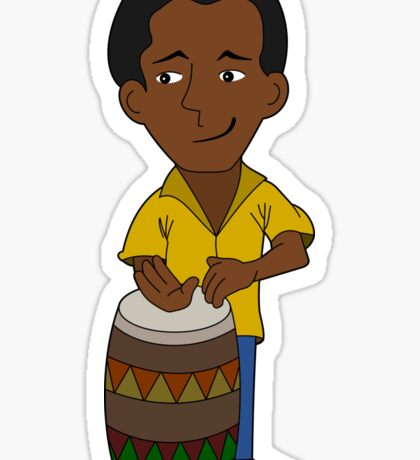 Cartoon percussionist Sticker