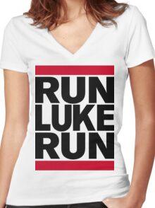 RUN LUKE RUN (Black font) Women's Fitted V-Neck T-Shirt