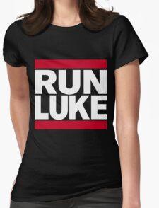 RUN LUKE (White font) Womens Fitted T-Shirt