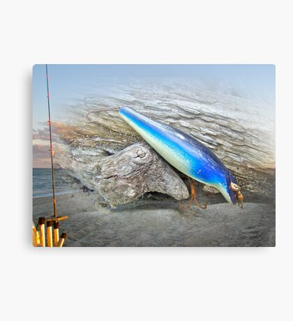 Vintage Fishing Lure - Floyd Roman Nike Blue and White Canvas Print