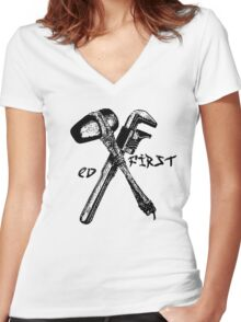 ED first - EV Tattoo Mashup Women's Fitted V-Neck T-Shirt