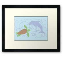 Sea Turtle and Dolphin Framed Print
