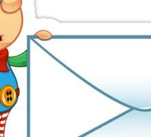 Elf Character - Holding Big Letter Sticker