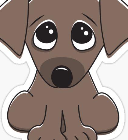Cute cartoon dog with big, begging eyes Sticker