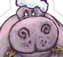 Hippopotamus Christmas Sticker