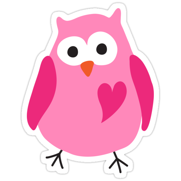 Quot Cute Pink Cartoon Owl With Heart Stickers Quot Stickers By
