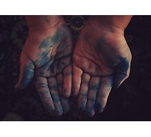 Blue hands Photographic Print