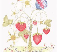 Maypole Strawberries and The Jubilee Butterfly by Helena Wilsen - Saunders