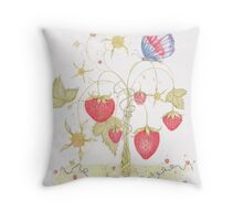 Maypole Strawberries and The Jubilee Butterfly Throw Pillow