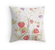 The Jubilee Butterflies and Strawberries Throw Pillow