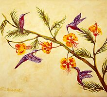 Hummingbirds in Flight by Roseann Gilmore