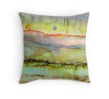 Lime Sunrise ~ Alcohol Ink ~ Inkscape Throw Pillow